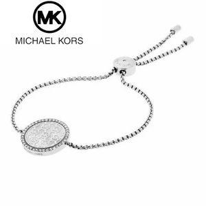 Michael Kors Silver Chain Monogram Disk Bracelet